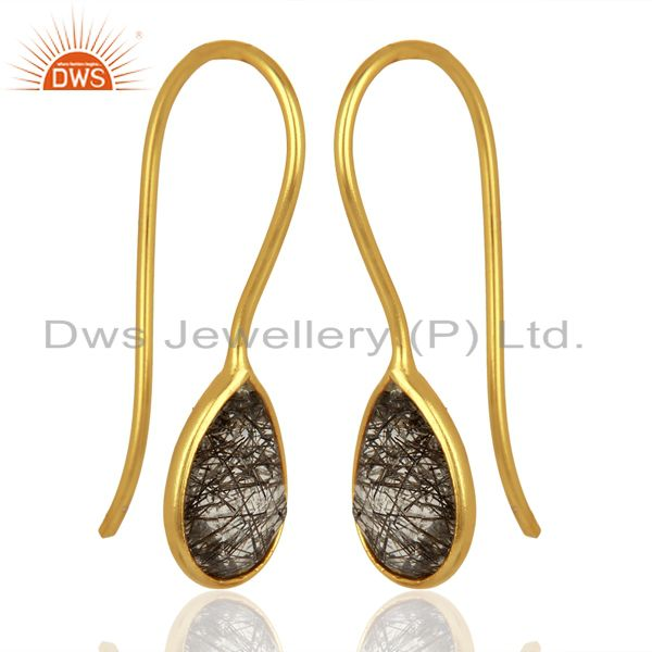 Exporter Black Rutile Dangle 18K Yellow Gold Plated 925 Sterling Silver Earrings Jewelry