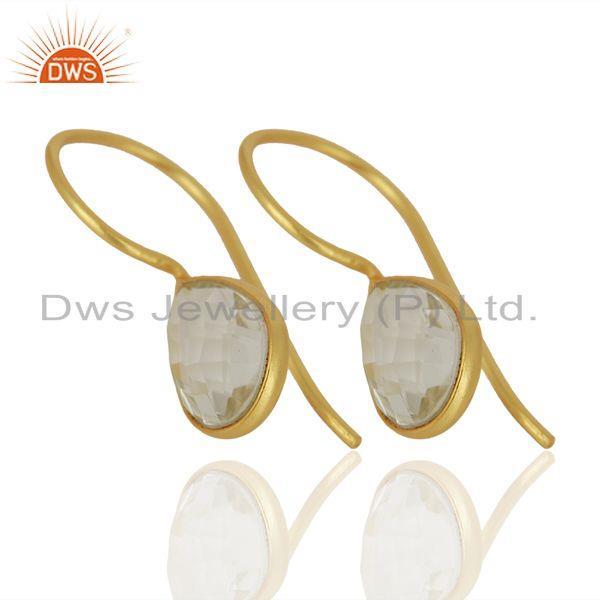 Exporter Crystal Quartz Dangle 14K Yellow Gold Plated 925 Sterling Silver Earrings