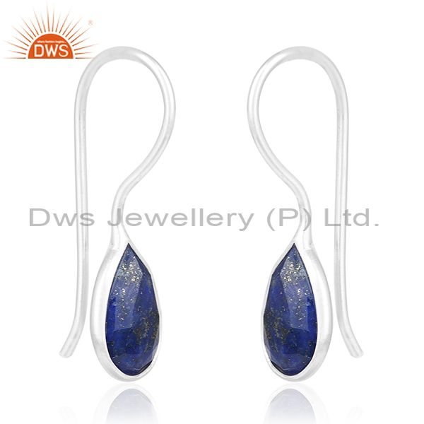 Exporter Lapis Lazuli Gemstone 925 Sterling Fine Silver Private Label Earring Wholesale