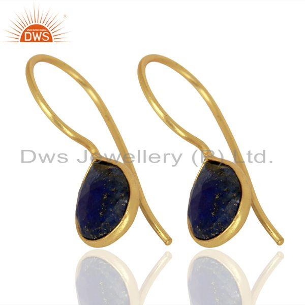 Wholesale Lapis Lazuli Dangle 14K Yellow Gold Plated 925 Sterling Silver Earrings