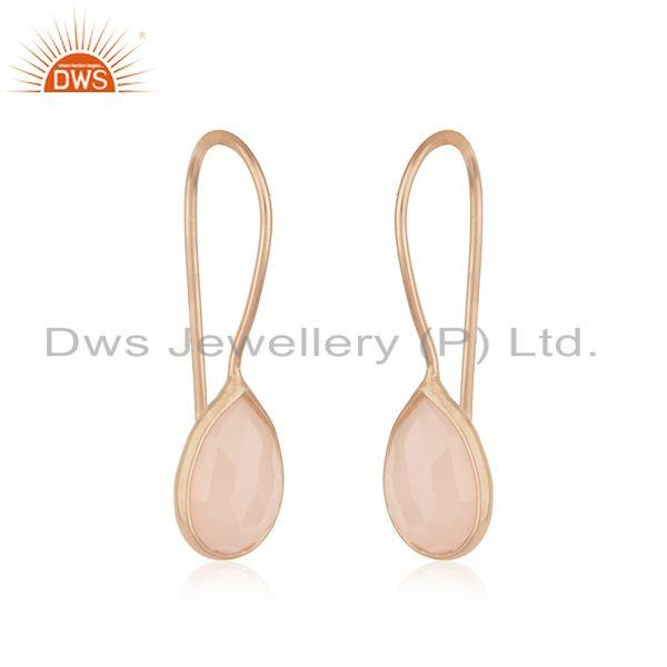 Exporter Handmade 925 Sterling Silver Rose Gold Plated Simple Drop Earrings Wholesaler