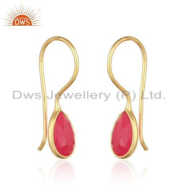 Bezel set yellow gold on silver drop earring with pink chalcedony
