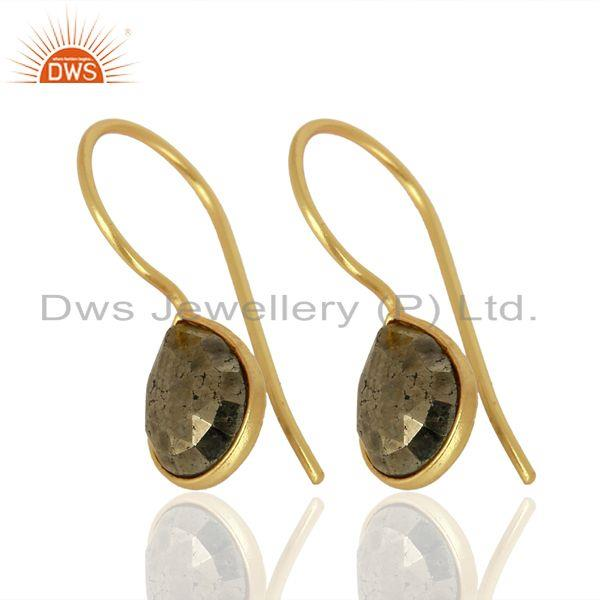 Exporter Pyrite Drop 14K Yellow Gold Plated 925 Sterling Silver Earrings Jewelry