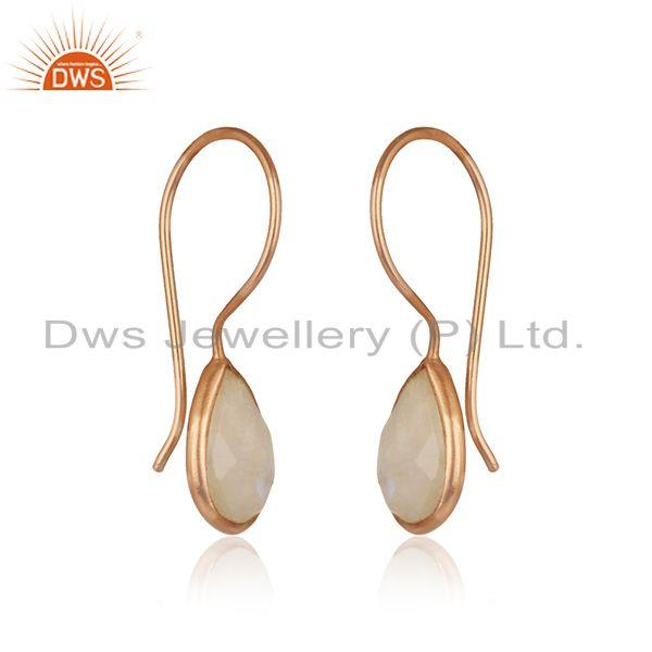 Exporter Rose Gold Plated Sterling Silver Rainbow Moonstone Tiny Earrings
