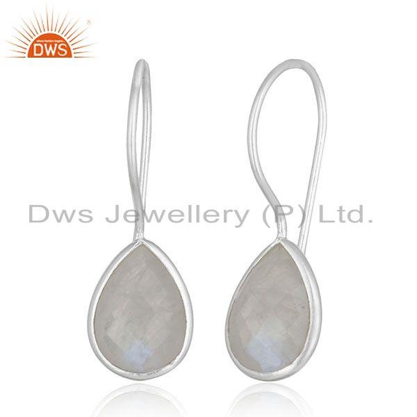 Exporter Rainbow Moonstone Silver Drop Earrings Custom Design Manufacturer Jaipur