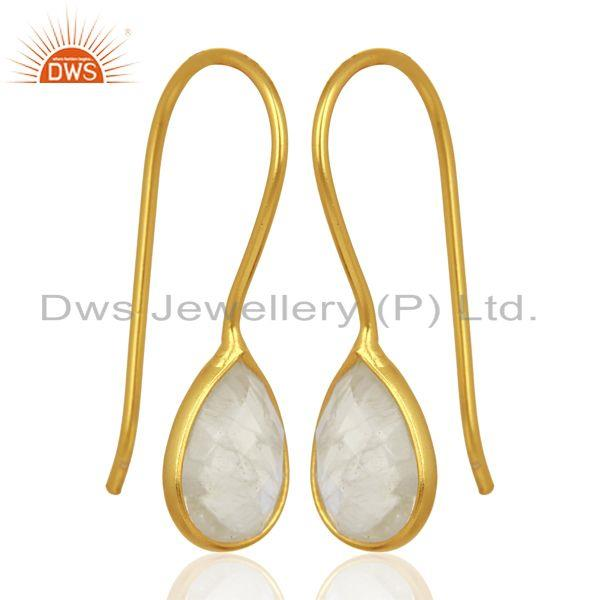 Exporter Rainbow Moonstone Dangle 14K Yellow Gold Plated Sterling Silver Earrings Jewelry