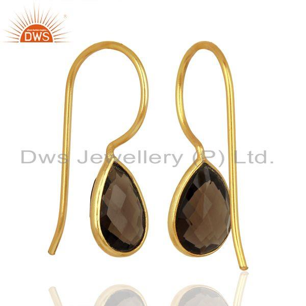 Exporter Smoky Quartz Dangle 14K Yellow Gold Plated 925 Sterling Silver Earrings Jewelry