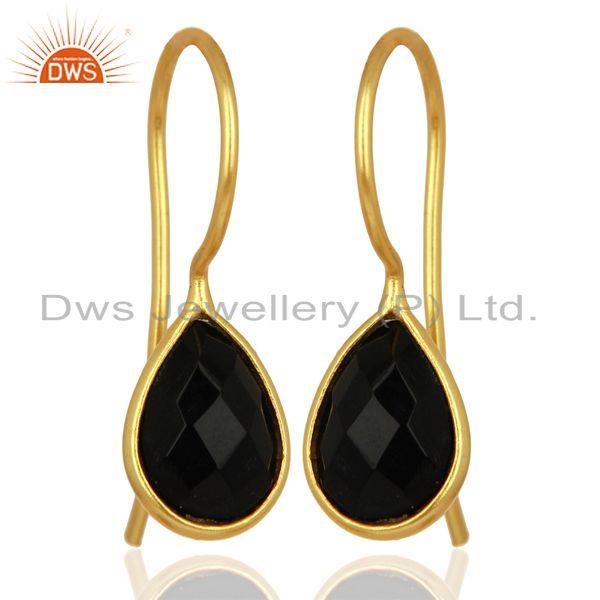 Exporter Black Onyx Dangle 14K Gold Plated 925 Sterling Silver Earrings Gemstone Jewelry