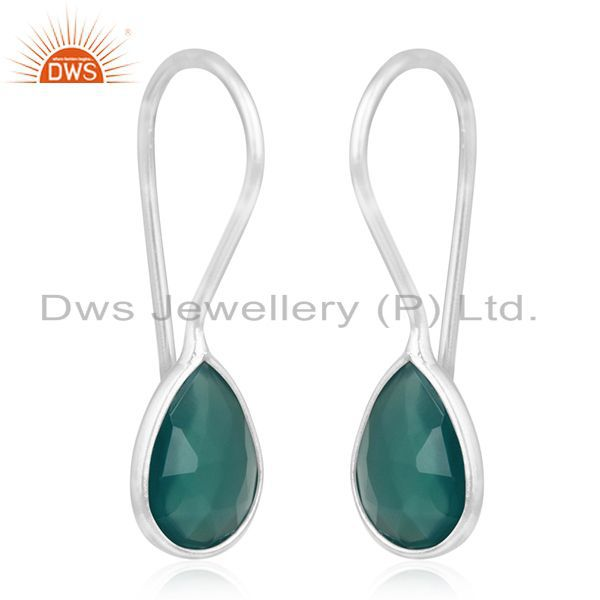 Exporter Fine 925 Sterling Silver Green Onyx Gemstone Dangle Earring Manufacturer India