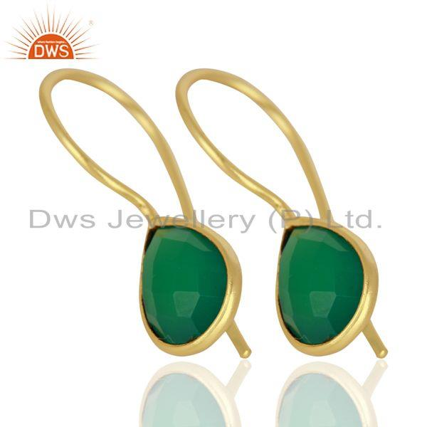 Supplier of Green Onyx Drop 14K Yellow Gold Plated 925 Sterling Silver Earrings Jewelry