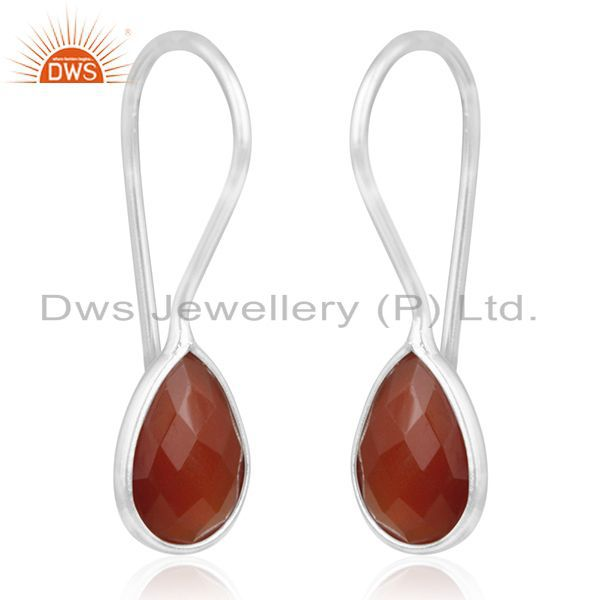 Exporter Red Onyx Gemstone 925 Sterling Silver Handmade Earring Manufacturer of Jewellery
