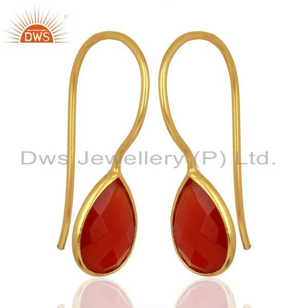 Exporter Red Onyx Drop 14K Yellow Gold Plated 925 Sterling Silver Earrings Jewelry