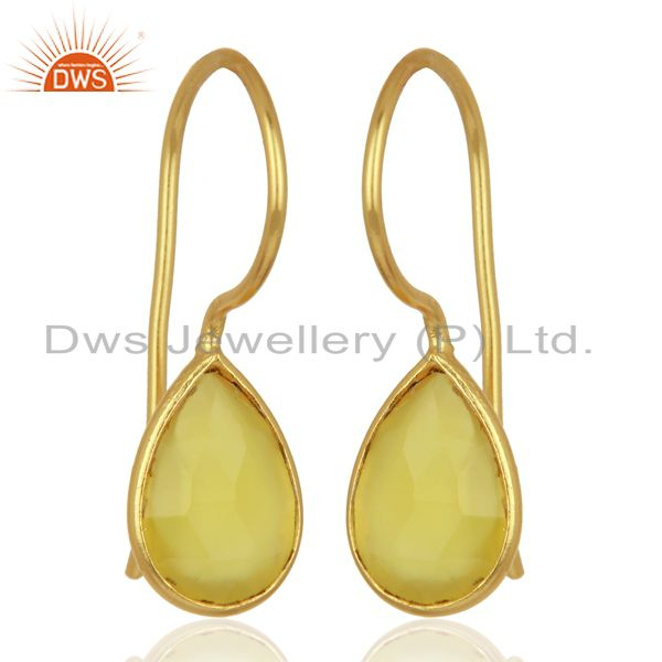 Exporter Yellow Chalcedony Drop 14K Yellow Gold Plated Sterling Silver Earrings Jewelry