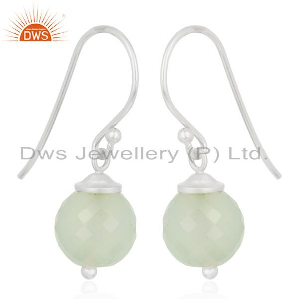 Exporter Aqua Chalcedony Gemstone 925 Sterling Fine Silver Drop Earrings Wholesale