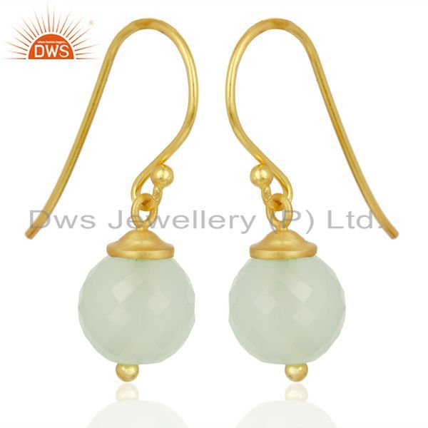 Exporter Handmade Aqua Chalcedony Gemstone Gold Plated Silver Earrings Supplier