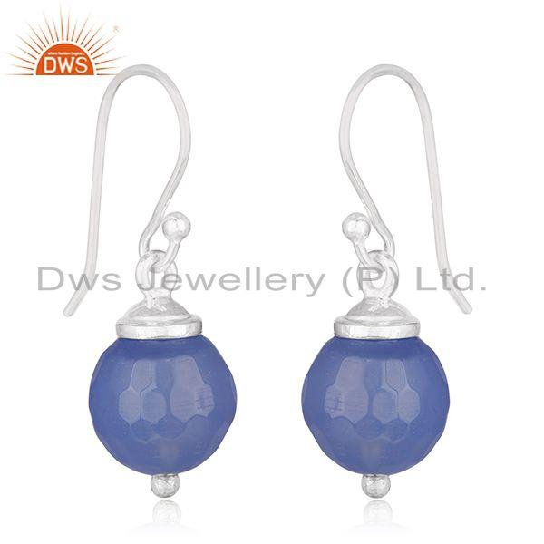 Exporter Blue Chalcedony Gemstone 92.5 Sterling Fine Silver Drop Earrings Manufacturers