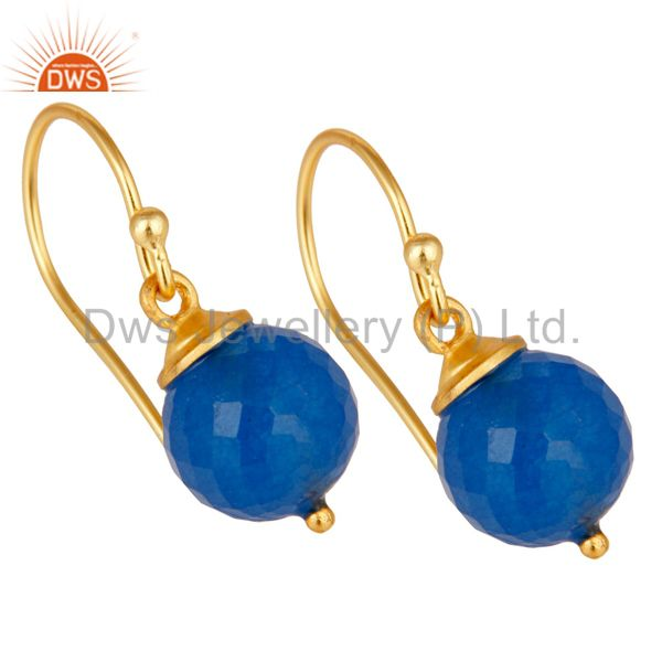 Exporter 18K Gold Plated 925 Sterling Silver Dyed Blue Chalcedony Drops Earrings Jewelery