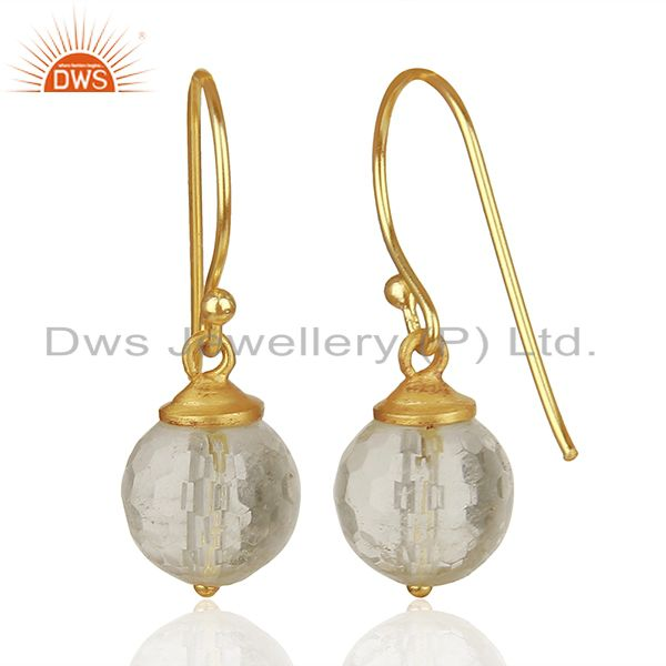 Exporter Crystal Quartz Round Ball Gold Plated 925 Silver Earrings Jewelry