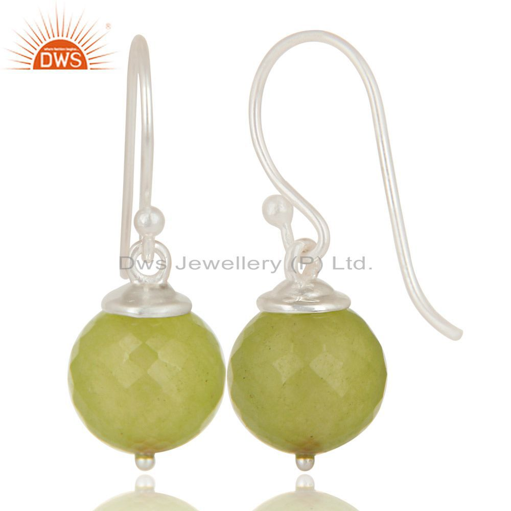 Exporter Handmade Solid 925 Sterling Silver Prehnite Chalcedony Hook Earrings For Womens
