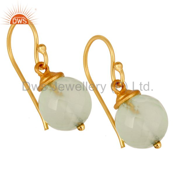 Exporter 18K Gold Plated Sterling Silver Prehnite Chalcedony Hook Earrings For Womens