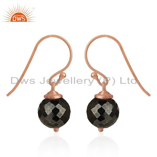 Exporter Hematite Gemstone Rose Gold Plated 925 Silver Drop Earrings Manufacturer India