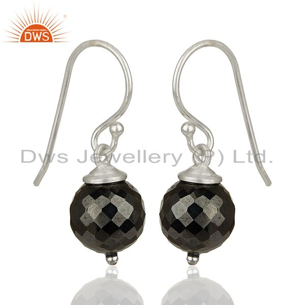 Exporter Round Hematite Gemstone 925 Silver Drop Girls Earrings Jewelry