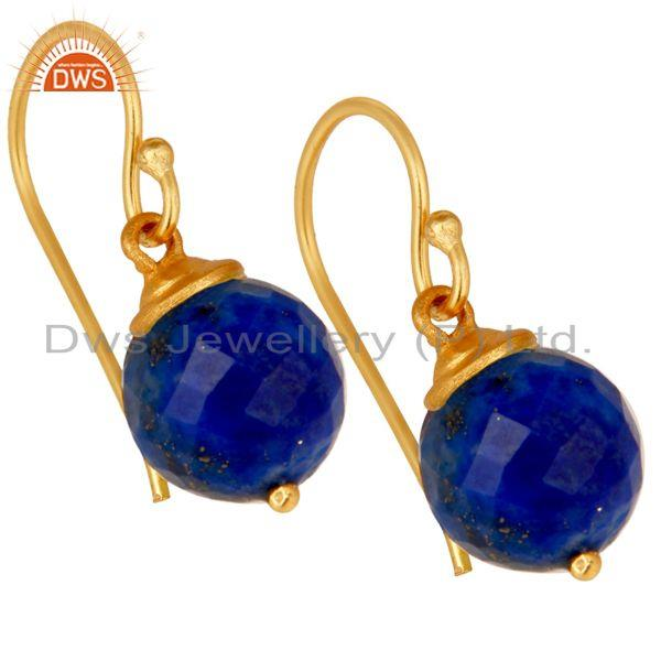 Exporter 18K Yellow Gold Plated Sterling Silver Lapis Dangle Hook Earrings For Womens