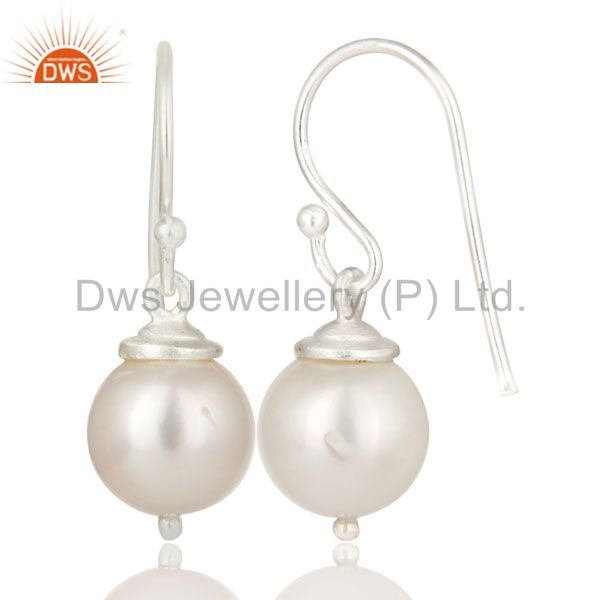 Exporter 925 Sterling Silver Natural White Pearl Dangle Hook Earrings For Womens