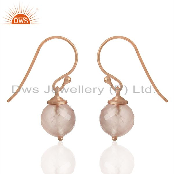 Exporter Round Rose Quartz Gemstone Rose Gold Plated Silver Earrings Wholesale