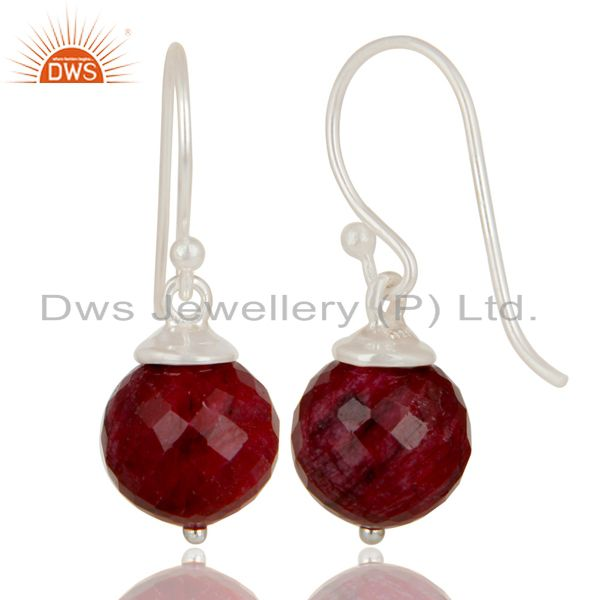 Exporter Handmade Solid 925 Sterling Silver Natural Ruby Dangle Hook Earrings For Womens