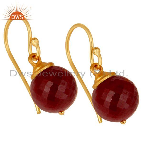 Exporter 18K Gold Plated Sterling Silver Natural Ruby Dangle Hook Earrings For Womens