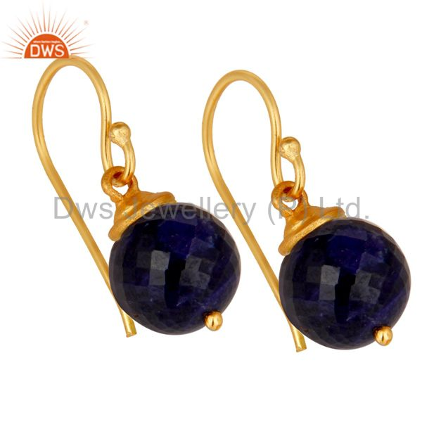 Exporter 18K Gold Plated Sterling Silver Natural Sapphire Dangle Hook Earrings For Womens