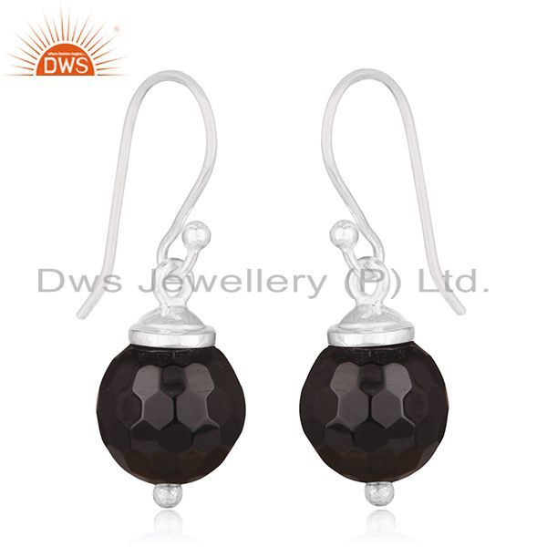 Exporter Black Onyx Gemstone 925 Sterling Silver Drop Earrings Manufacturer of Jewellery