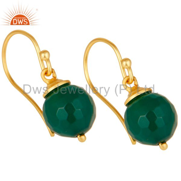 Exporter 18K Gold Plated Sterling Silver Natural Green Onyx Dangle Hook Earring Jewellery