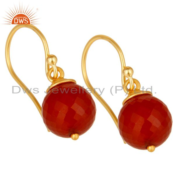 Exporter 18K Yellow Gold Plated 925 Sterling Silver Faceted Red Onyx Drops Earrings