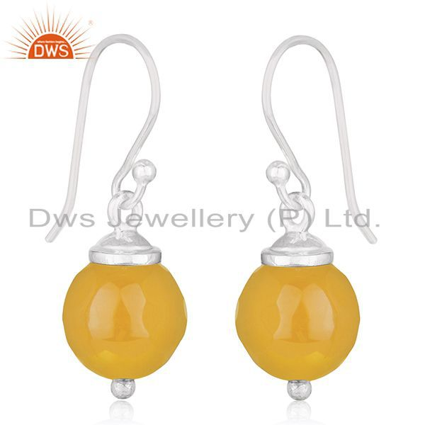 Exporter Chalcedony Yellow Gemstone Fine Sterling Silver Handmade Earrings Wholesale