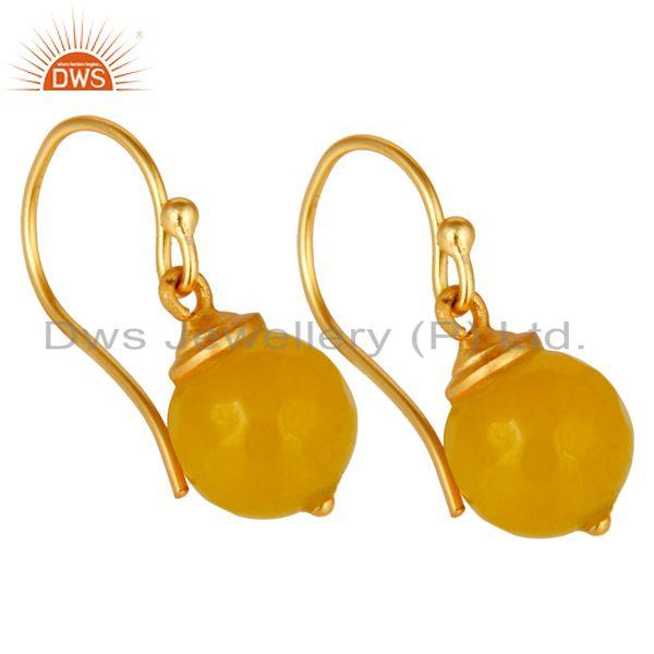 Exporter 18K Gold Plated Sterling Silver Dyed Chalcedony Dangle Hook Earrings Jewellery