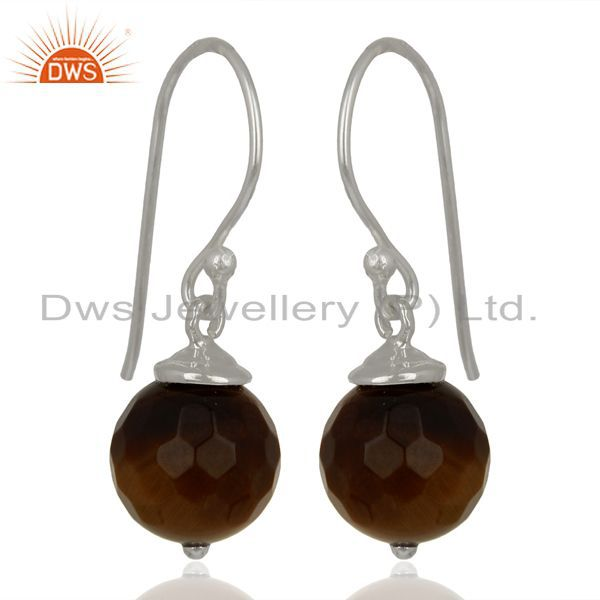 Exporter Yellow Tiger Eye Dangle 925 Sterling Silver Earrings Gemstone Jewelry