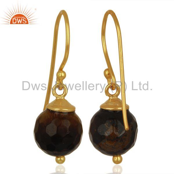 Exporter Tiger Eye Dangle 14K Gold Plated 925 Sterling Silver Earrings Jewelry