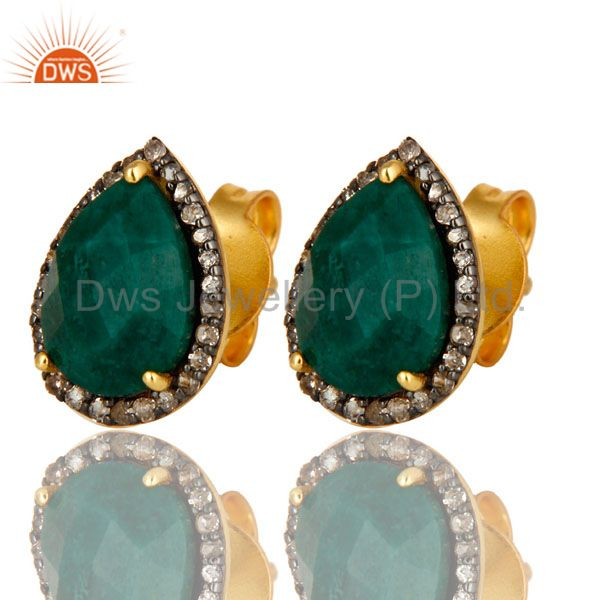 Exporter 18K Yellow Gold Pave Diamond And Emerald Sterling Silver Drop Stud Earrings