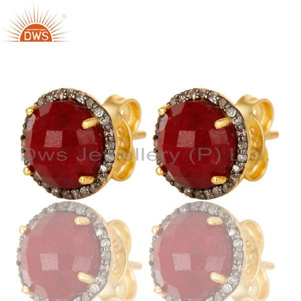 Exporter of 18k yellow gold pave diamond and ruby sterling silver round stud earrings