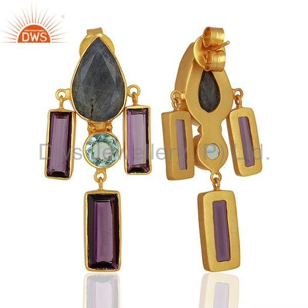 Exporter Hydro Amethyst Gemstone Brass Fashion Earrings Jewelry Manufacturer