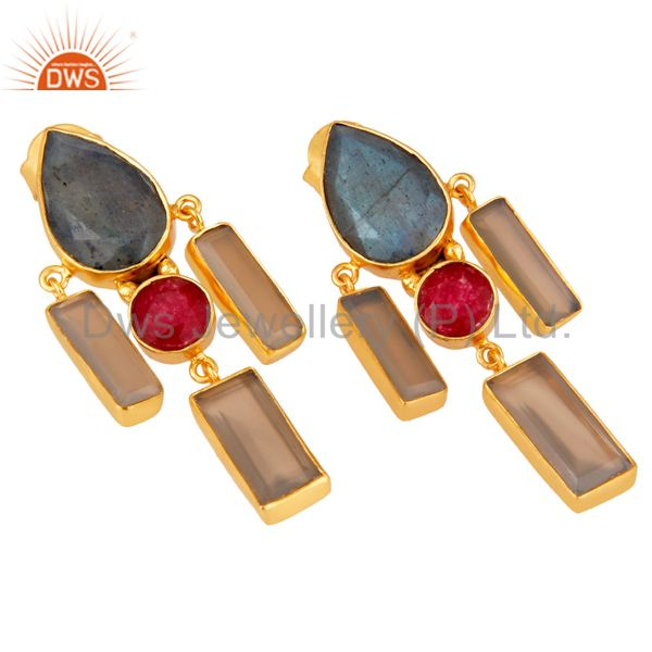 Exporter Natural Red Aventurine Labradorite and Chalcedony Gold Plated Dangler Earring