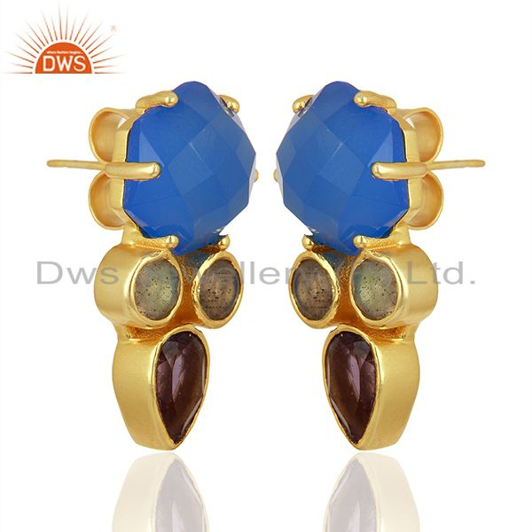 Exporter Blue Chalcedony and Labradorite Gemstone Fashion Earrings Supplier