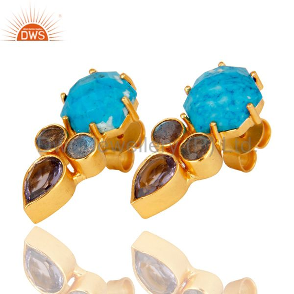 Exporter Labradorite and Turquoise Cultured 18K Gold Plated Drop Stud Earring