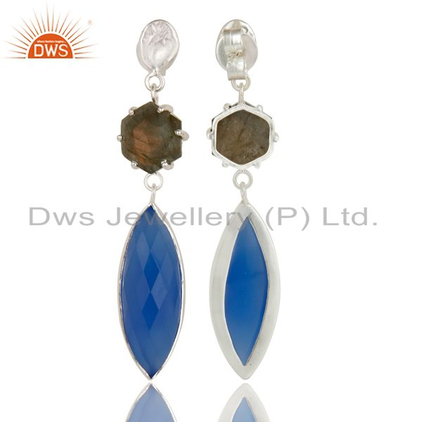 Exporter Silver Plated Dyed Blue Chalcedony & Checkered Labradorite Earrings