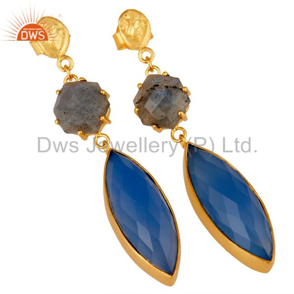Exporter Natural Labradorite and Blue Chlacedony 18K Gold Plated Dangler Earring