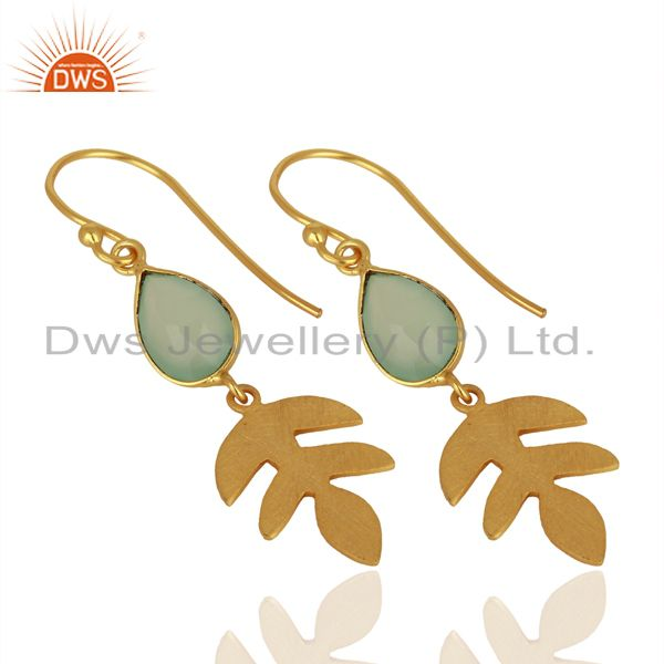 Exporter Designer Aqua Chalcedony Gemstone Silver Earrings Jewelry Manufacturer