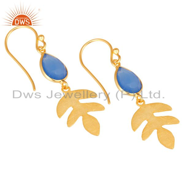 Exporter 18K Yellow Gold Plated 925 Sterling Silver Dyed Blue Chalcedony Drops Earrings