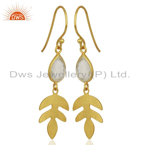 Supplier of Crystal Quartz Drop 14K Yellow Gold Plated 925 Sterling Silver Earrings Jewelry